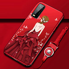 Silicone Candy Rubber Gel Dress Party Girl Soft Case Cover for Vivo Y11s Red