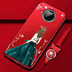 Silicone Candy Rubber Gel Dress Party Girl Soft Case Cover for Xiaomi Mi 10T Lite 5G Red Wine