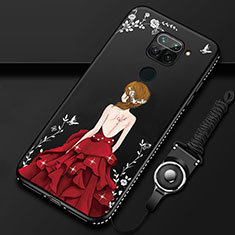 Silicone Candy Rubber Gel Dress Party Girl Soft Case Cover K01 for Xiaomi Redmi Note 9 Red and Black