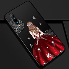 Silicone Candy Rubber Gel Dress Party Girl Soft Case Cover K02 for Huawei P30 Red and Black
