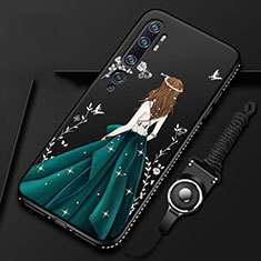 Silicone Candy Rubber Gel Dress Party Girl Soft Case Cover S01 for Xiaomi Mi Note 10 Green