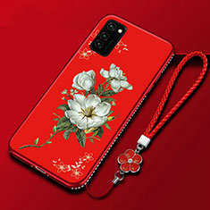 Silicone Candy Rubber Gel Flowers Soft Case Cover for Huawei Honor View 30 5G Red