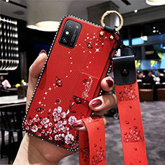 Silicone Candy Rubber Gel Flowers Soft Case Cover for Huawei Honor X10 Max 5G Red