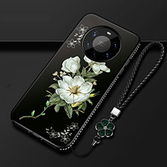 Silicone Candy Rubber Gel Flowers Soft Case Cover for Huawei Mate 40 Pro+ Plus Black