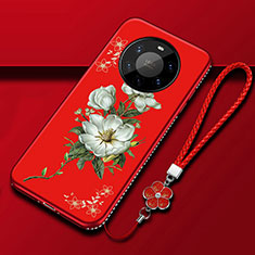 Silicone Candy Rubber Gel Flowers Soft Case Cover for Huawei Mate 40 Pro+ Plus Red