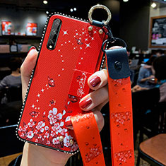 Silicone Candy Rubber Gel Flowers Soft Case Cover for Huawei Y8p Red
