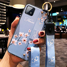 Silicone Candy Rubber Gel Flowers Soft Case Cover for Oppo A73 5G Mint Blue