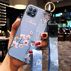 Silicone Candy Rubber Gel Flowers Soft Case Cover for Oppo Reno4 SE 5G Mint Blue