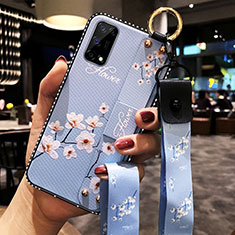 Silicone Candy Rubber Gel Flowers Soft Case Cover for Realme Q2 Pro 5G Mint Blue