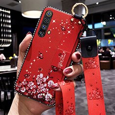 Silicone Candy Rubber Gel Flowers Soft Case Cover for Realme X50m 5G Red