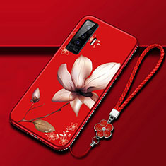Silicone Candy Rubber Gel Flowers Soft Case Cover for Vivo X50 5G Red Wine