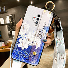 Silicone Candy Rubber Gel Flowers Soft Case Cover for Vivo X50e 5G Blue
