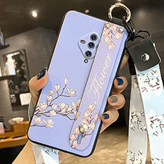 Silicone Candy Rubber Gel Flowers Soft Case Cover for Vivo X50e 5G Mint Blue