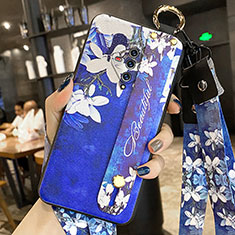 Silicone Candy Rubber Gel Flowers Soft Case Cover for Vivo X50e 5G Navy Blue