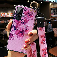 Silicone Candy Rubber Gel Flowers Soft Case Cover for Vivo X51 5G Purple