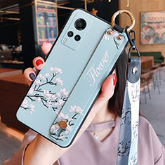 Silicone Candy Rubber Gel Flowers Soft Case Cover for Vivo X60 5G Mint Blue