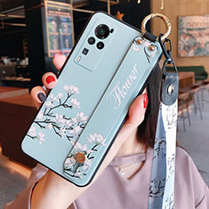 Silicone Candy Rubber Gel Flowers Soft Case Cover for Vivo X60 Pro 5G Mint Blue
