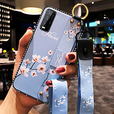 Silicone Candy Rubber Gel Flowers Soft Case Cover for Vivo Y12s Mint Blue