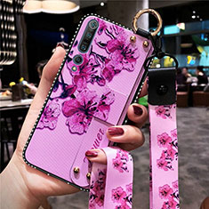 Silicone Candy Rubber Gel Flowers Soft Case Cover for Xiaomi Mi 10 Pro Purple