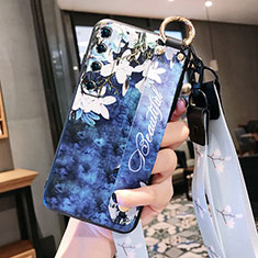 Silicone Candy Rubber Gel Flowers Soft Case Cover for Xiaomi Mi 10 Ultra Navy Blue