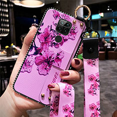 Silicone Candy Rubber Gel Flowers Soft Case Cover K01 for Xiaomi Redmi Note 9 Purple