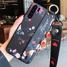 Silicone Candy Rubber Gel Flowers Soft Case Cover K02 for Huawei P30 Pro Black