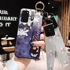 Silicone Candy Rubber Gel Flowers Soft Case Cover M01 for Samsung Galaxy S20 Blue