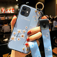 Silicone Candy Rubber Gel Flowers Soft Case Cover S01 for Apple iPhone 12 Mini Mint Blue