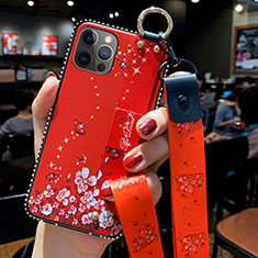 Silicone Candy Rubber Gel Flowers Soft Case Cover S01 for Apple iPhone 12 Pro Max Red