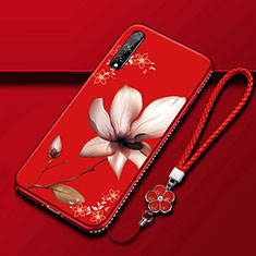 Silicone Candy Rubber Gel Flowers Soft Case Cover S01 for Huawei Enjoy 10S Red Wine