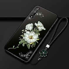 Silicone Candy Rubber Gel Flowers Soft Case Cover S01 for Huawei Enjoy 10S White