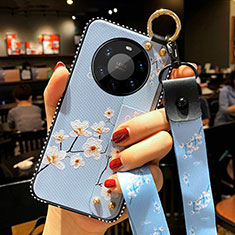 Silicone Candy Rubber Gel Flowers Soft Case Cover S01 for Huawei Mate 40 Pro+ Plus Mint Blue