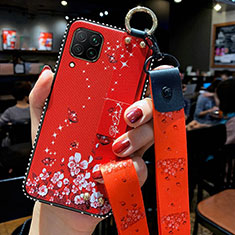 Silicone Candy Rubber Gel Flowers Soft Case Cover S01 for Huawei P40 Lite Red