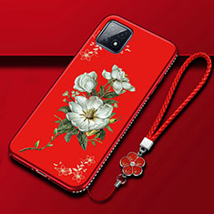 Silicone Candy Rubber Gel Flowers Soft Case Cover S01 for Oppo A73 5G Red