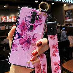 Silicone Candy Rubber Gel Flowers Soft Case Cover S01 for Oppo A9 (2020) Purple
