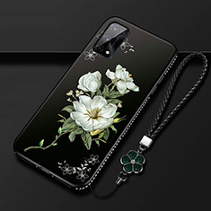 Silicone Candy Rubber Gel Flowers Soft Case Cover S01 for Realme Q2 Pro 5G Black