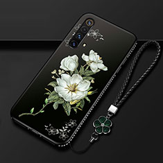 Silicone Candy Rubber Gel Flowers Soft Case Cover S01 for Realme X3 SuperZoom White