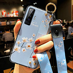 Silicone Candy Rubber Gel Flowers Soft Case Cover S01 for Vivo X50 5G Sky Blue