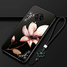 Silicone Candy Rubber Gel Flowers Soft Case Cover S01 for Vivo X50 Lite Brown