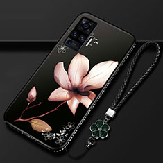 Silicone Candy Rubber Gel Flowers Soft Case Cover S01 for Vivo X51 5G Brown