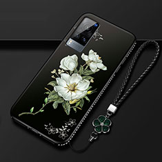 Silicone Candy Rubber Gel Flowers Soft Case Cover S01 for Vivo X60 5G Black