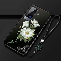 Silicone Candy Rubber Gel Flowers Soft Case Cover S01 for Vivo X60 Pro 5G Black