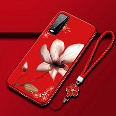 Silicone Candy Rubber Gel Flowers Soft Case Cover S01 for Vivo Y12s Red Wine