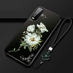 Silicone Candy Rubber Gel Flowers Soft Case Cover S01 for Vivo Y20s Black