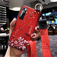 Silicone Candy Rubber Gel Flowers Soft Case Cover S01 for Xiaomi Mi 10 Ultra Red