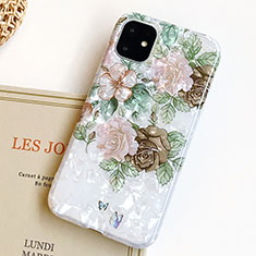 Silicone Candy Rubber Gel Flowers Soft Case Cover S02 for Apple iPhone 11 Green
