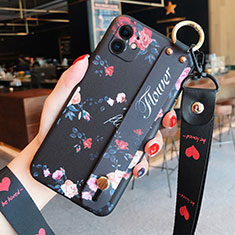 Silicone Candy Rubber Gel Flowers Soft Case Cover S02 for Apple iPhone 12 Mini Black