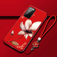Silicone Candy Rubber Gel Flowers Soft Case Cover S02 for Huawei Honor X10 5G Red Wine