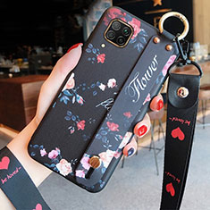 Silicone Candy Rubber Gel Flowers Soft Case Cover S02 for Huawei P40 Lite Black