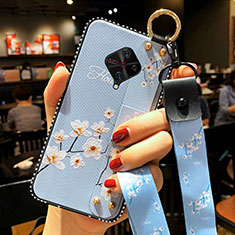 Silicone Candy Rubber Gel Flowers Soft Case Cover S02 for Vivo X50 Lite Sky Blue
